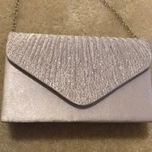 Brand new silver sparkly evening purse bag clutch